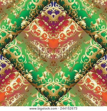 Gold Baroque 3d Seamless Pattern. Colorful Vintage Ornamental Surface Background. Damask Repeated Or
