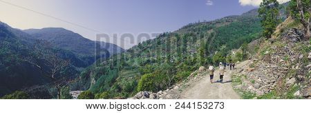 The Road In The Mountains Of Annapurna Range, Nepal Himalayas