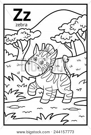 Coloring book for children, colorless alphabet. Letter Z, zebra poster