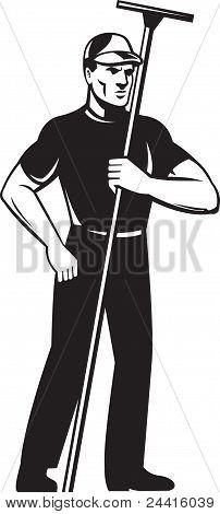 Window Washer Cleaner Worker Standing