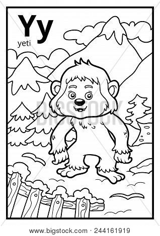 Coloring book for children, colorless alphabet. Letter Y, yeti poster