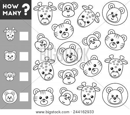 Counting Game For Preschool Children. Educational A Mathematical Game. Count How Many Animals And Wr