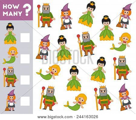 Counting Game For Preschool Children. Educational A Mathematical Game. Count How Many Fairy Tale Cha