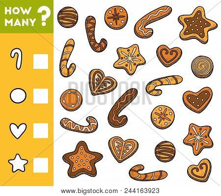 Counting Game For Preschool Children. Educational A Mathematical Game. Count How Many Cookies And Wr