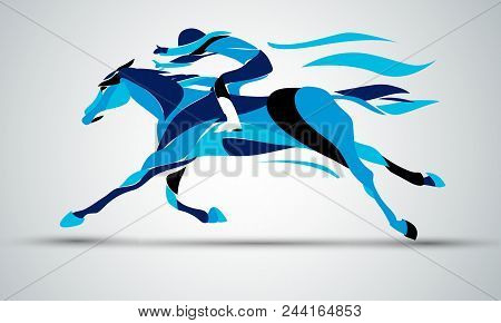Horse Race. Equestrian Sport. Silhouette Of Racing Horse With Jockey In Blue Colors On Isolated Back