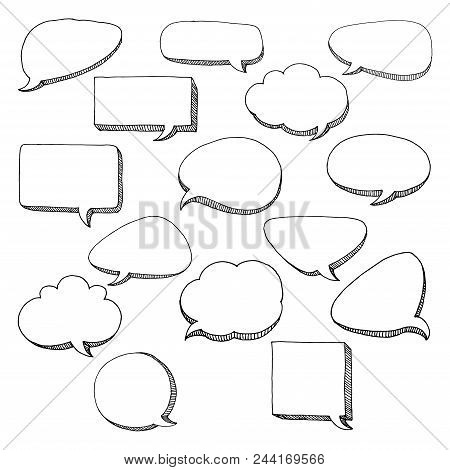 Think Talk Speech Bubbles. Artistic Collection Of Hand Drawn Doodle Style Comic Balloon, Cloud And H