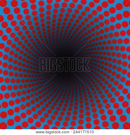 Spiral Pattern Of Red Dots In A Blue Tunnel With Black Center - Hypnotic, Vibrant, Psychedelic, Whir