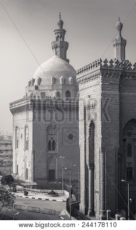 Cairo, Egypt - January 1 2018: External Shot Of Al Rifai And Sultan Hasan Historical Mosques, Old Ca