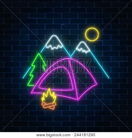 Neon Camping Sign With Tent, Bonfire, Mountains And Spruce. Glowing Web Banner For Summer Camp, Camp