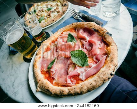 Delicious Pizza Salsiccia E Carciofi Made From Artichoke Heart, Campania Buffalo Mozzarella, Black P