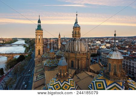 A Beautiful View Of Zaragoza, In Spain, From One Of The Towers Of The Pilar Basilica Near To Ebro Ri