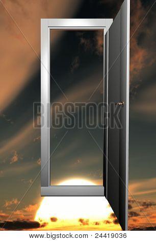 door and sunset