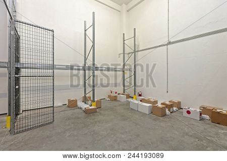 Almost Empty Storage Room In Distribution Warehouse