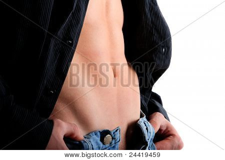 Healthy muscular young man. isolated