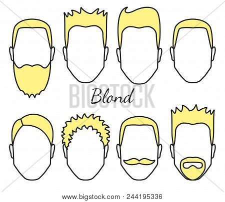 Male Blond Hair And Face Fungus Styles Types, Different Hair Cut, Moustaches And Beard, Man Head Wit