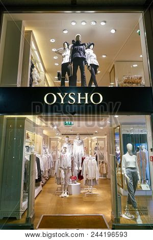 MILAN, ITALY - CIRCA NOVEMBER, 2017: shopfront of Oysho shop in Milan. Oysho is a Spanish clothing retailer specialising in women's homewear and undergarments.
