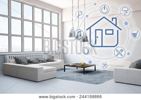 Loft living room with smart home control as a modern concept (3D Rendering)