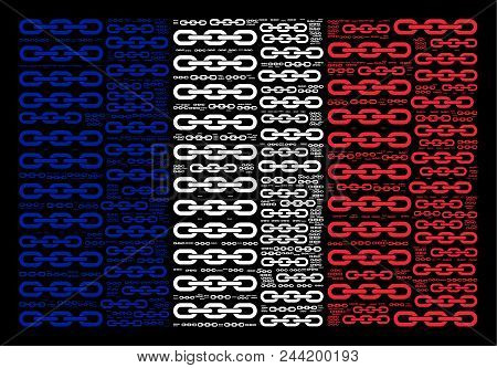 French State Flag Concept Organized Of Chain Pictograms On A Black Background. Vector Chain Design E