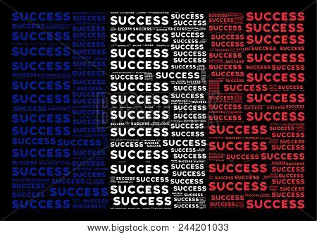 French Flag Concept Composed Of Success Texts On A Black Background. Vector Success Text Items Are U