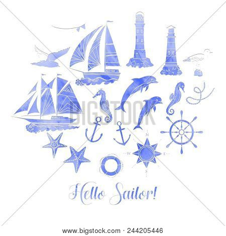Paper Nautical Background With Sailing Vessels And Wheel. Hand Drawn Elements For Summer Holidays.tr