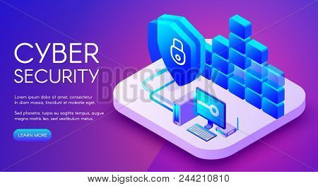 Cyber Security Technology Vector Illustration Of Private Network Secure Access And Internet Firewall