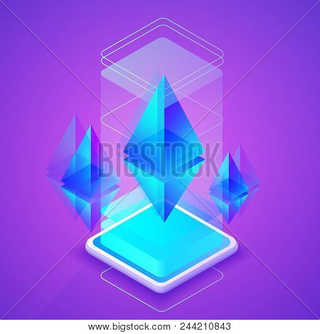 Ethereum Cryptocurrency Vector Illustration Of Blockchain Platform For Ether Mining Farm. Digital Cr