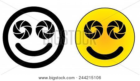 Twin Dual Lens Mobile Phone Emoticon. Two Camera Aperture Symbol Instead Of Eyes.