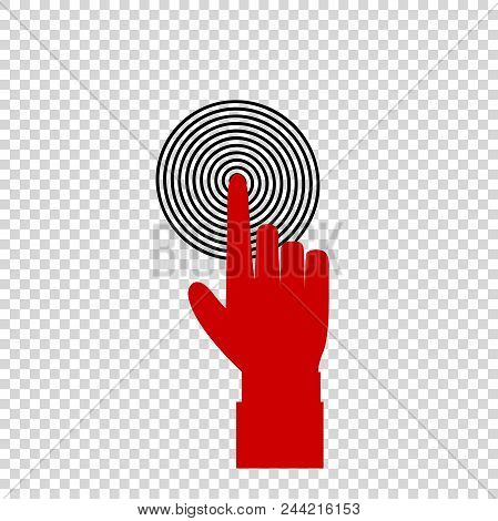 Vector Illustration Of Index Finger Pointing To The Target, Business Concept, Red Hand With Index Fi