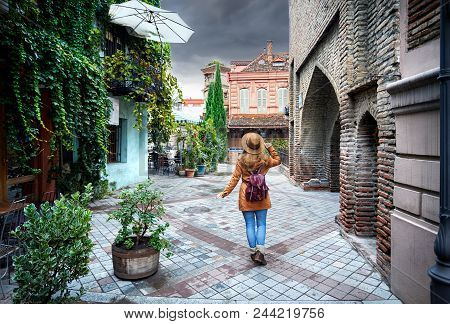 Traveler Woman At Old Street Of Tbilisi