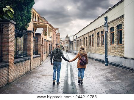 Traveler Couple At Old Street Of Tbilisi