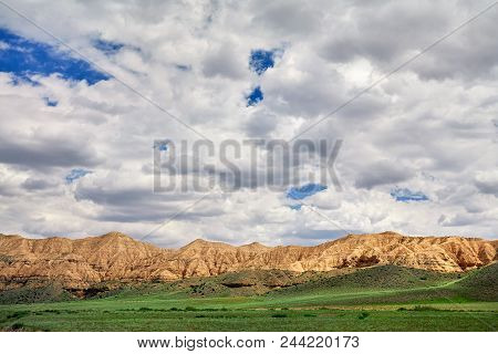 Yellow Mountains In The Desert