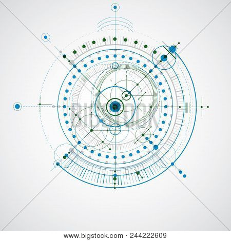 Technical Plan, Abstract Engineering Draft For Use In Graphic And Web Design. Colorful Vector Drawin
