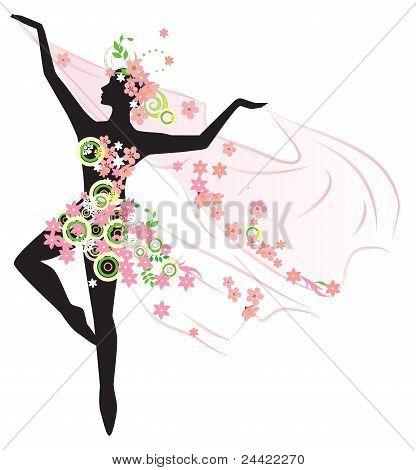 Silhouette Of Beautiful Dancing Woman