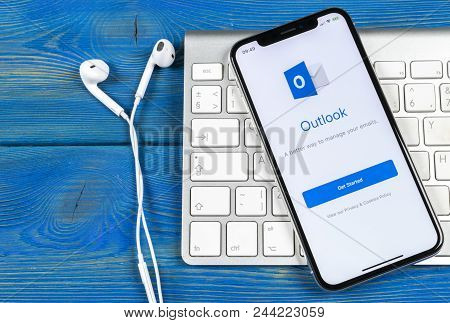 Sankt-petersburg, Russia, June 2 2018: Microsoft Outlook Office Application Icon On Apple Iphone X S