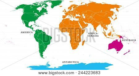 Four continents. World map with national borders. America, Africa-Eurasia, Australia and Antarctica. Political map under Robinson projection. English labeling. Isolated on white background. Vector. poster