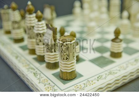 Ancient Russian chess in Russian Museum in Sankt Petersburg poster