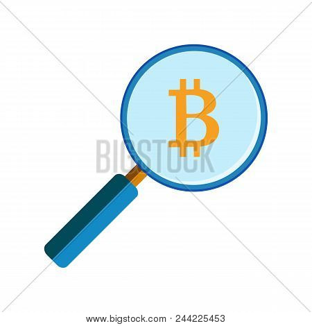 Magnifying Glass With Bitcoin Sign, Flat Style Icon