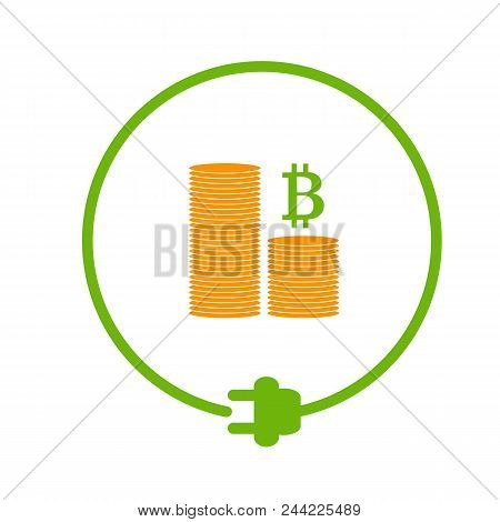 Flat Style Icon Of Profit From Bitcoin Mining