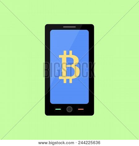 Smart Phone With Bitcoin Sign, Flat Style Icon