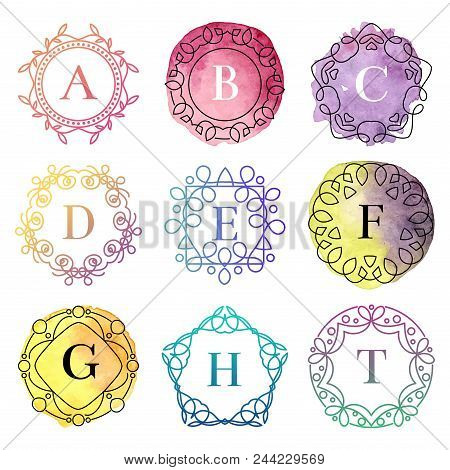 Set Of Monogram Logo Template With Flourishes Calligraphic Elegant Ornament Watercolor Badge Letter