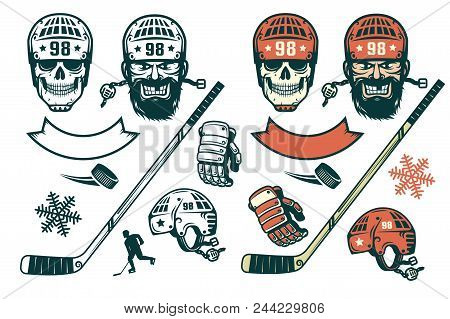 Set Of Hockey Elements In Retro Style -  Bearded Player, Skull In A Helmet,  Stick, Puck,  Silhouett