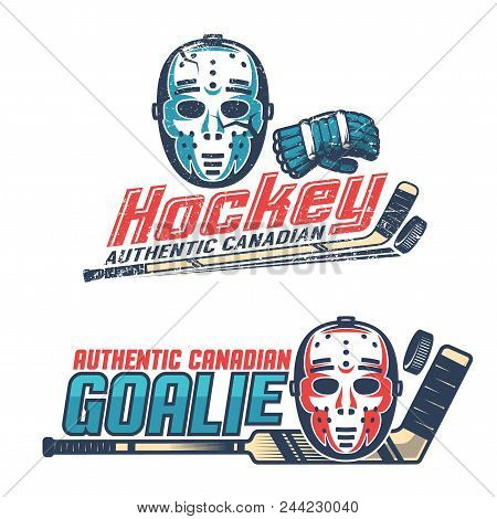 Simple Vintage Hockey Emblems With  Classic Goalkeeper Mask