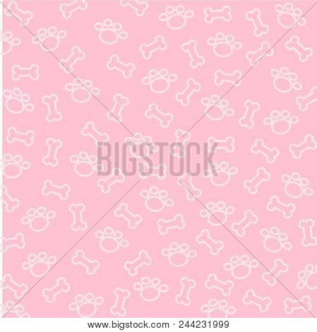 Mini Bone And Spoor Of Dog Pattern  On  Pink Background Use For Wallpaper Or Background