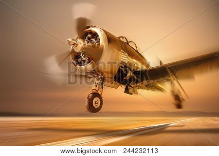 Sports Plane While Take Off Against A Suset