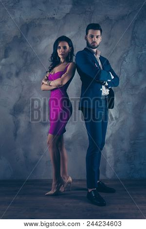 Opposites Attract! Full Size Fullbody Vertical Portrait Of Attractive, Confident Couple With Crossed
