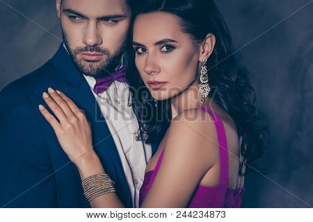 Cropped Close Up Portrait Of Lovely Romantic Couple Embracing, Pretty Charming Mrs With Jewelry, Ric