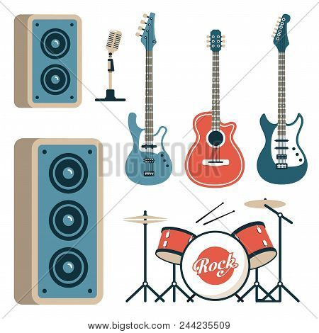 Musical Instruments For Rock Band - Acoustic, Electric And Bass Guitars, Drum Set, Microphone And Sp