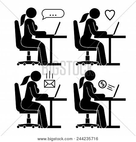 Pictogram People. Iconic Woman At An Office Desk With Laptop, Working, Chatting, Receiving Emails, R
