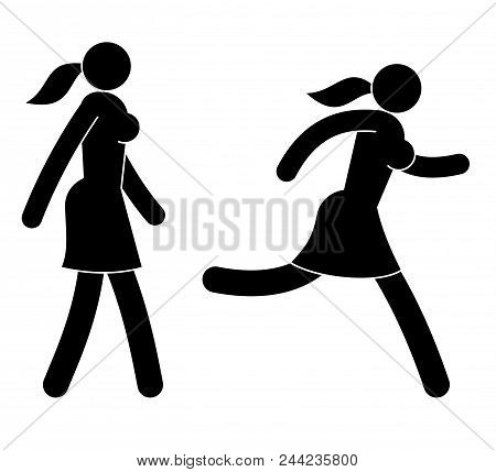 Pictograms, Icons Of Running And Running Abstract Woman, Girl.