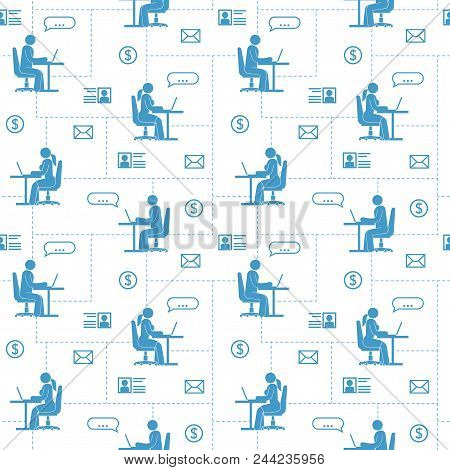 Seamless Pattern Background. Pictogram People In The Global Internet Network Are Sitting With Laptop